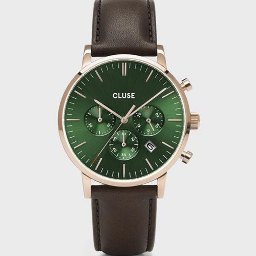 Cluse - Montre - Aravis Chrono CW502006 Leather Brown Green  - Photo 1